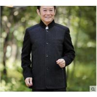 气质儒雅爸爸装中老年商务休闲羊毛呢外套 中年男士夹克衫立领羊毛呢上衣
