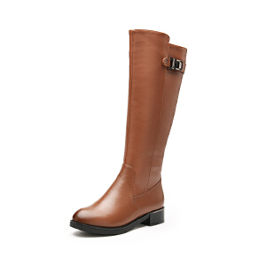 富贵鸟女靴 新品 新潮英伦真皮骑士靴 圆头中跟长筒靴 女