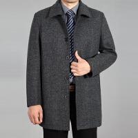 秋冬季中老年男士翻领夹克爸爸装中年男装加厚毛呢外套加大码男 浅灰色 1301浅灰