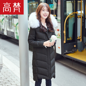 高梵2017新款时尚貉子毛领羽绒服女中长款冬季韩版时尚连帽外套潮