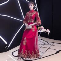 2018新款秋季敬酒服新娘高贵优雅中式旗袍长款结婚晚礼服裙女回门 酒红色