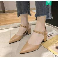 包头凉鞋女仙女风网红同款新款百搭粗跟时尚仙女的鞋尖头高跟单鞋