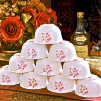白领公社 碗 景德镇骨瓷敞口手绘米饭陶瓷碗4.5英寸中式风格家用增高底碗盘餐具 10个装