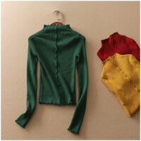 特价 春季修身打底衫半高领纯色长袖套头针织衫女10670