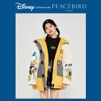 【迪士尼联名】太平鸟工装三防短款羽绒服女2019新款连帽白鸭绒