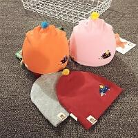 婴儿帽子0-3-6个月宝宝帽子春秋冬天男女宝宝胎帽纯棉护耳套头帽