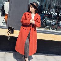 女装大码新款冬装呢子大衣韩版纯色宽松显瘦长款毛呢外套FS