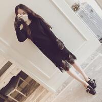 秋季蕾丝打底衫秋冬新款中长款针织花边拼接直筒长袖连衣裙女