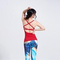 美背交叉性感瑜伽背心速干弹力紧身运动吊带背心瑜伽服上衣带胸垫