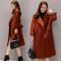 秋冬新款韩版时尚女装呢子大衣收腰显瘦中长款长袖毛呢外套女