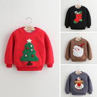 2018冬季新款儿童卫衣童装男童女童圣诞加绒卫衣绒衫外套保暖欧美