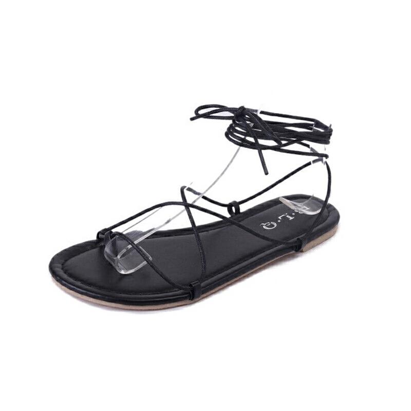 ELEISE美国艾蕾莎新品156-016韩版超纤皮平跟女士凉鞋
