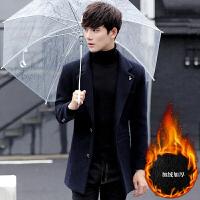 冬季韩版修身男士毛呢大衣中长款加绒厚妮子外套帅气呢子西装风衣 加绒深蓝色 M