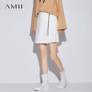 Amii极简港味chic复古黑色女一步裙2018秋新款休闲高腰a字半身裙
