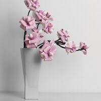 方形陶瓷花瓶摆件客厅插花器欧式 +紫色玉兰2只