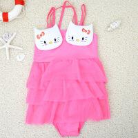 新款儿童泳衣连体裙式可爱hellokitty猫公主宝宝小中大童泳装