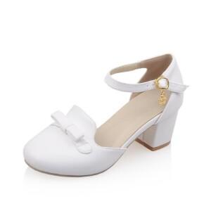 ELEISE美国艾蕾莎新品098-44-1学院超纤皮中跟粗跟女士凉鞋