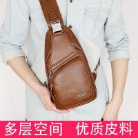 袋鼠胸包男士包包单肩包斜挎包男韩版新款软皮包防水休闲胸前背包