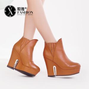 【满200减100】毅雅单靴子女春秋短靴 坡跟鞋女式鞋韩版真皮休闲女靴 YY-F8541126