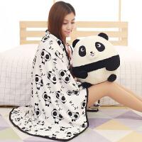可爱熊猫插手两用毛绒毯子手捂女生日礼物学生暖手三合一抱枕被子