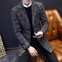 秋冬新品男装西服中长款毛呢西装休闲小西装韩版潮流修身呢子外套