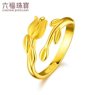 六福珠宝 足金永恒之约花与叶黄金活口女戒指 GMGTBR0006支持使用礼品卡