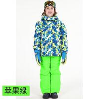 儿童滑雪服套装女童加厚两件套防风防水男童孩子保暖