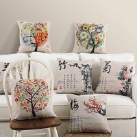 中国风汽车棉麻沙发靠垫坐垫办公室靠枕床头椅子靠背护腰抱枕套