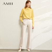【券后预估价:144元】Amii设计感小众白色衬衫女2020春新款职业polo领纯色衬衣长袖上衣