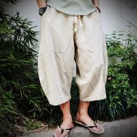 中国风夏季亚麻短裤男哈伦七分裤男宽松加肥加大码棉麻布五分中裤【潮流】【超火】