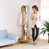 家逸 多功能松木穿衣镜 简约衣帽架实木全身落地试衣镜 带有万向轮可移动简单便捷