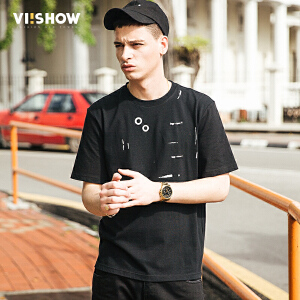 VIISHOW207潮牌夏装新品套头圆领短袖T恤男印花短袖短t男士T