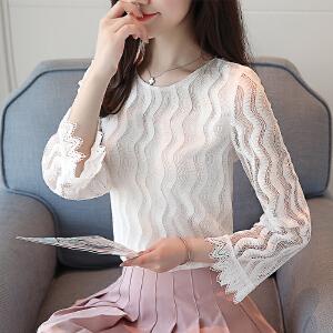 2018夏季新款韩版圆领七分袖蕾丝衫修身显瘦上衣女夏