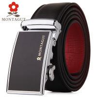 梦特娇Montagut男士真皮本命年皮带简约商务自动扣腰带男款鸿运皮带红腰带 外黑内红