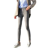 秋冬韩版复古做旧加绒牛仔裤高腰紧身显瘦小脚裤铅笔裤学生裤子女