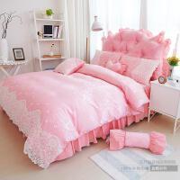 家纺韩版公主风纯棉四件套床上用品蕾丝床裙花边被套4件套纯色春夏季