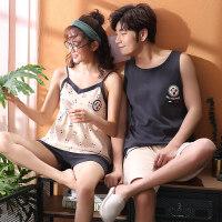 情侣睡衣女夏季纯棉短袖韩版可爱吊带性感睡裙薄款男士家居服套装
