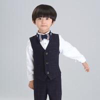 韩版儿童马甲背心主持中大童西服 男童小西装花童礼服男孩宝宝 黑 色