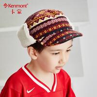 kenmont儿童冬天帽子男童鸭舌帽韩版潮纯棉小孩棒球帽平顶帽5860