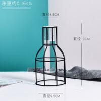 花瓶摆件客厅插花玻璃透明小清新创意铁艺水培试管瓶北欧风格装饰
