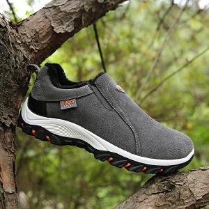 冬天棉鞋保暖加绒皮冬季中年运动鞋男加厚防滑爸爸登山户外男鞋