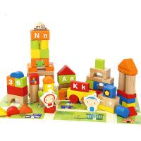 智力玩具100粒木制桶装早教1-2-3周岁大颗粒场景积木