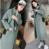 韩观毛呢外套中长款2017新款韩国学生呢子大衣过膝加厚冬季女