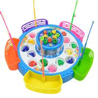 儿童早教钓鱼玩具大号双层带收纳篮 电动灯光音乐磁性钓鱼盘宝宝玩具礼物