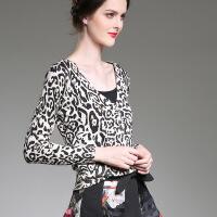 秋季新款女装长袖豹纹针织上衣小外套采源宝0724 图色 均码