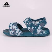 阿迪达斯(adidas)2018年新款童鞋男童沙滩鞋户外魔术粘儿童凉鞋CQ0047 迷彩绿