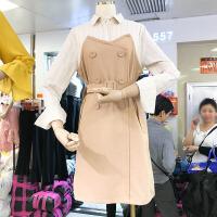 韩国ulzzang2018春新款双排扣中裙Polo领衬衫拼接假两件连衣裙女