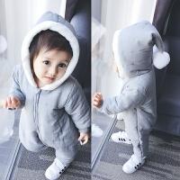 201805050602592女婴儿连体衣服0一岁3个月1男宝宝秋冬装6保暖外套装加绒加厚棉衣