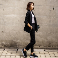2018春季韩版休闲小西装女士中长款修身职业西服套装女秋两件套 黑色