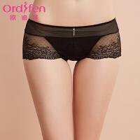 【2件3折到手价约:41】欧迪芬女士内裤女式蕾丝性感低腰平角内裤XP7519